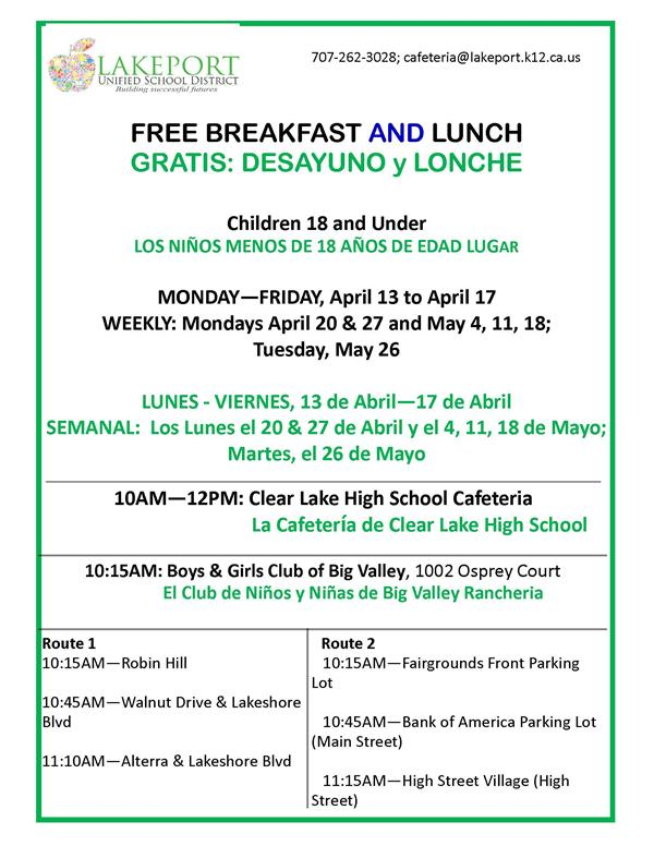 Free Meals for Children 18 and under
